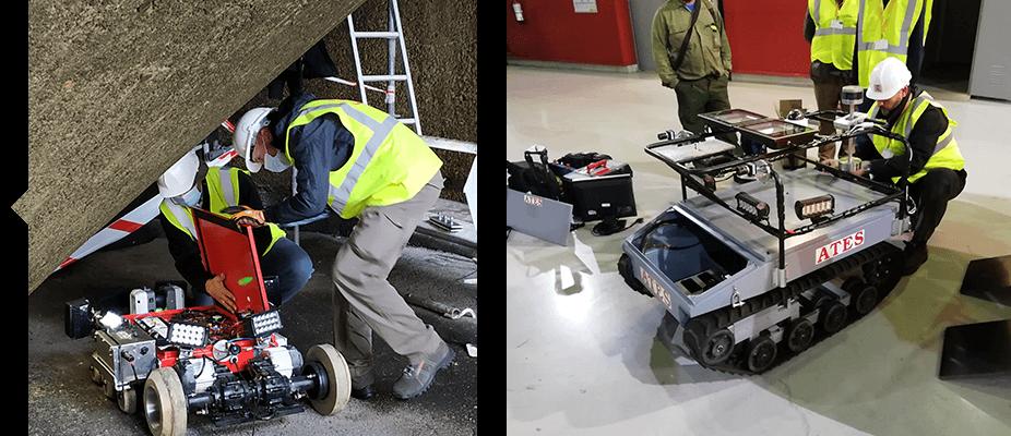 Trabajadores en inspecciones de infraestructuras civiles industriales del área technologies