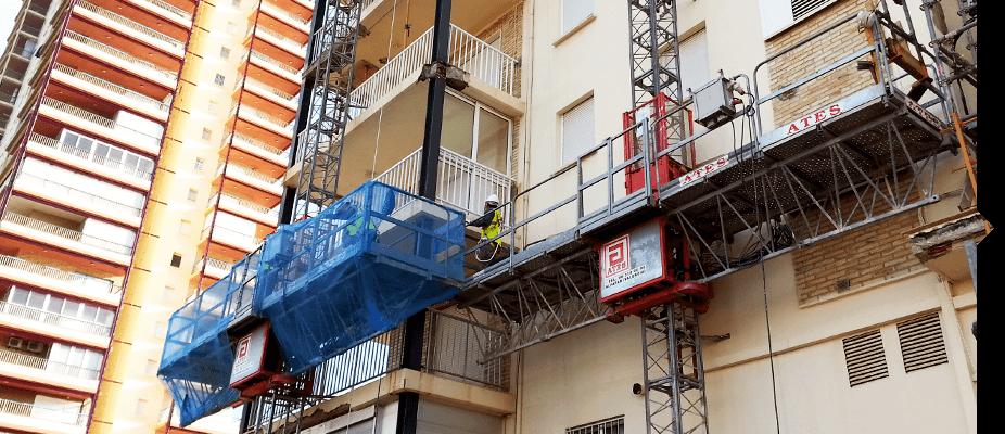 Plataformas motorizadas para la rehabilitación de fachadas ATES Construction