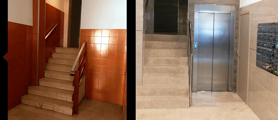 Resultado reforma y modernización a cota cero en edificios sin ascensores
