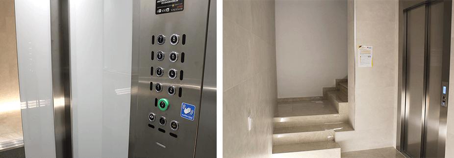 Ascensor modernizado de un edificio rehabilitado con el sistema Epic Power para el ahorro energético y reducción del consumo