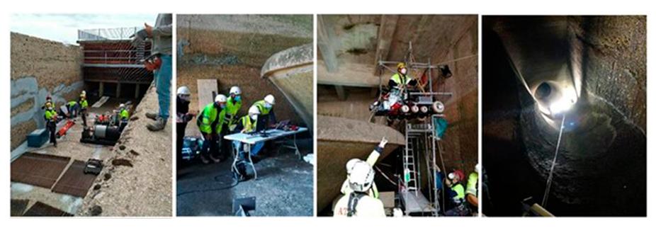Inspección de una canal de carga en la central hidroeléctrica de Moncabril